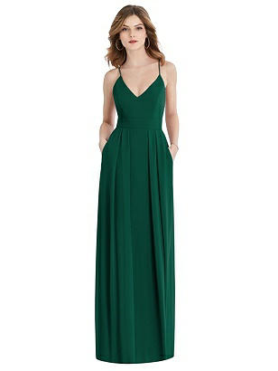 Special Order Pleated Skirt Crepe Maxi Dress with Pockets