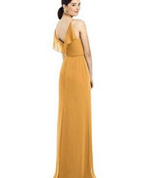 Special Order Ruffled Back Chiffon Dress with Jeweled Sash