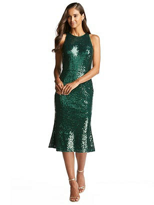 Special Order Sequin Midi Halter Dress with Flared Skirt