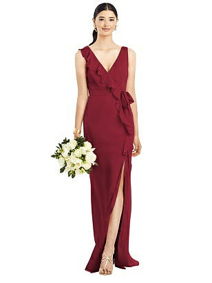 Special Order Sleeveless Ruffled Wrap Chiffon Gown
