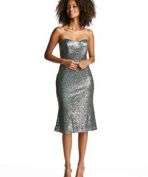 Special Order Strapless Sequin Midi Dress with Flared Skirt
