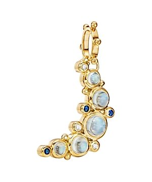 Temple St. Clair 18K Yellow Gold Celestial Diamond, Blue Moonstone & Blue Sapphire Crescent Moon Pendant