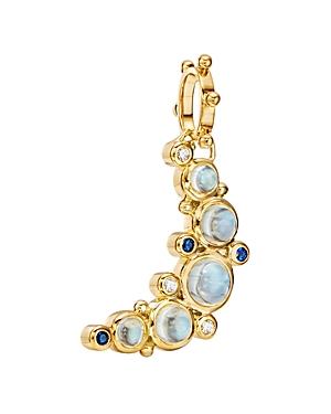 Temple St. Clair 18K Yellow Gold Celestial Diamond, Blue Moonstone & Blue Sapphire Crescent Moon Pendant