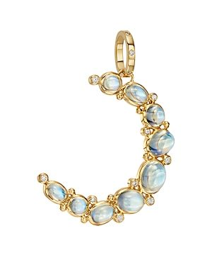 Temple St. Clair 18K Yellow Gold Royal Bm Diamond & Blue Moonstone Crescent Pendant
