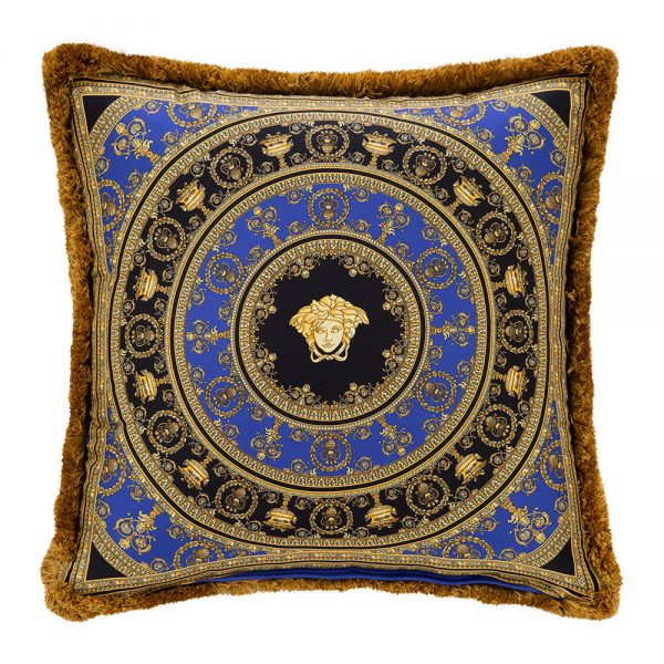 Versace Home - I Love Baroque Silk Cushion - 50x50cm - Gold/Blue/Black