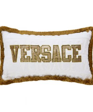 Versace Home - LogoMania Cushion - 45cm x 25cm - White/Gold