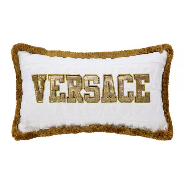 Versace Home - LogoMania Cushion - 45cm x 25cm - White/Gold