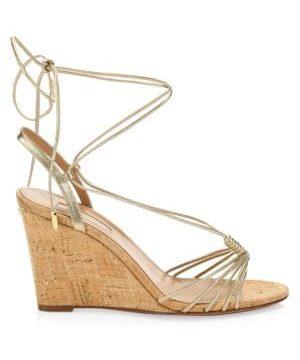 Whisper Metallic Leather Wedge Sandals