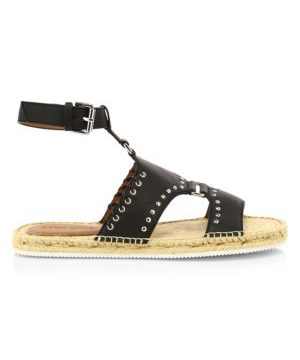 Yuna Whipstitch Flat Leather Espadrille Sandals