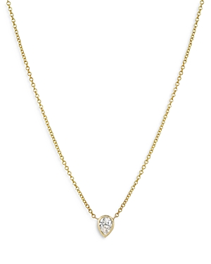 Zoe Lev 14K Yellow Gold Pear Diamond Bezel Pendant Necklace, 16-18