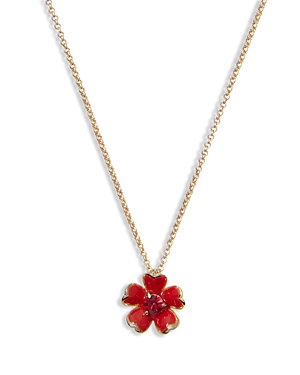 kate spade new york Blushing Blooms Crystal Red Flower Pendant Necklace, 17-20