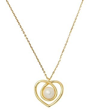 kate spade new york Infinite Hearts Gold-Tone Imitation Pearl Heart Pendant Necklace, 17-20
