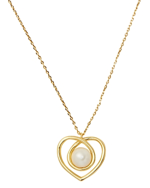 kate spade new york Infinite Hearts Gold-Tone Imitation Pearl Heart Pendant Necklace, 17-20