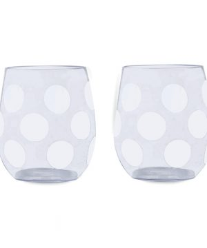 kate spade new york - Jumbo Dot Acrylic Stemless Wine Glass - Set of 2