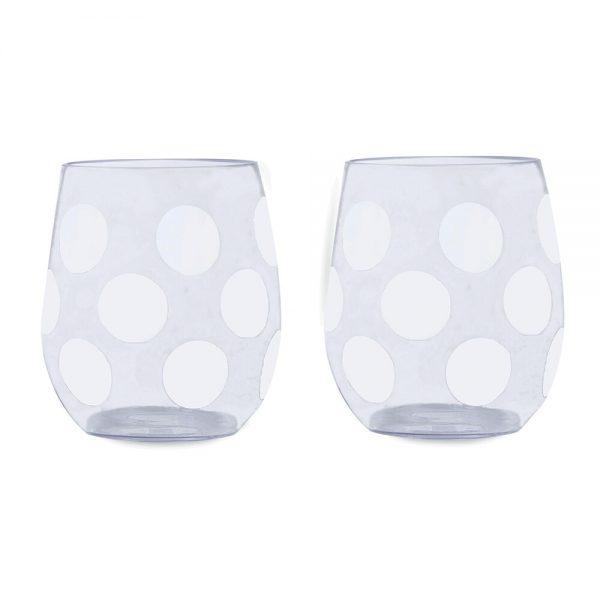 kate spade new york - Jumbo Dot Acrylic Stemless Wine Glass - Set of 2