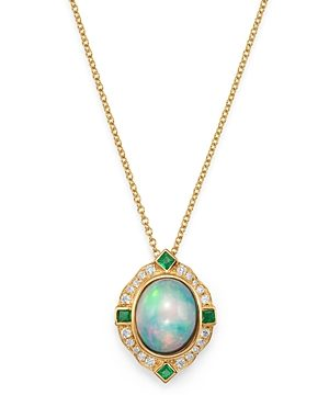 Bloomingdale's Ethiopian Opal, Emerald & Diamond Pendant Necklace in 14K Yellow Gold, 18 - 100% Exclusive