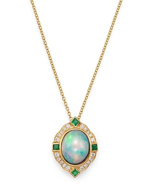 Bloomingdale's Ethiopian Opal, Emerald & Diamond Pendant Necklace in 14K Yellow Gold, 18 - 100% Exclusive
