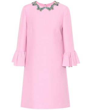 Embellished silk and wool dress