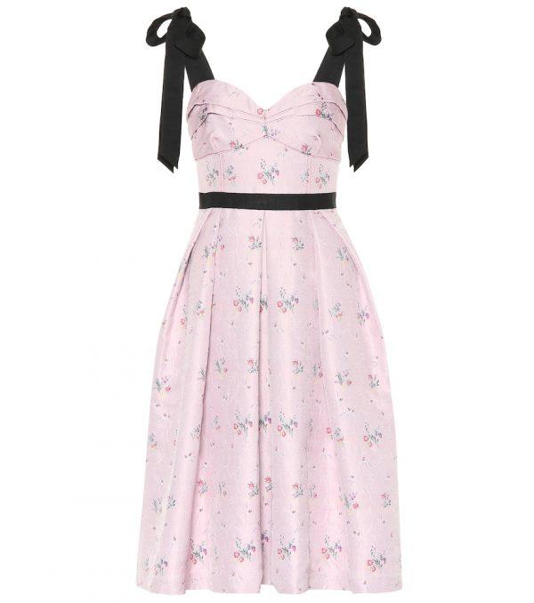 Floral cotton and silk-blend dress