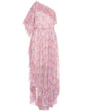 Floral-printed one-shoulder dress