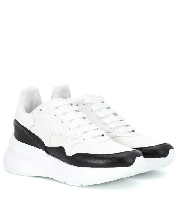 Leather platform sneakers