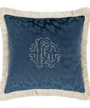 Roberto Cavalli - Monogram Reversible Cushion - Blue - 40x40cm