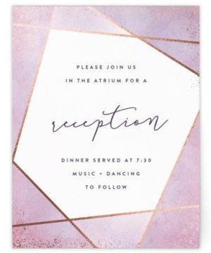 Amethyst Watercolor Foil-Pressed Reception Cards