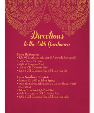 Anand Karaj Directions Cards