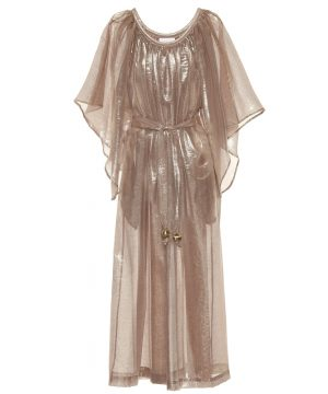 Angel Sleeve lamé maxi dress