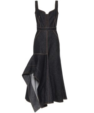Asymmetric denim midi dress
