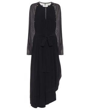 Asymmetric silk georgette midi dress