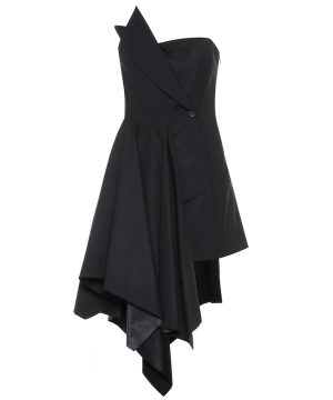 Asymmetric stretch-wool dress