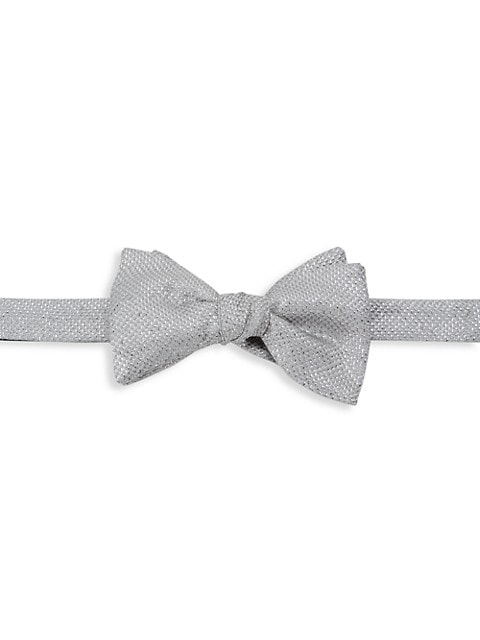 Basketweave Silk-Blend Bow Tie
