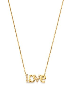 Bloomingdale's Diamond Love Pendant Necklace in 14K Yellow Gold 18, 0.06 ct. t.w. - 100% Exclusive