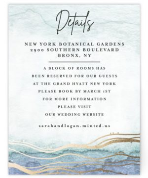 Bohemian Watercolor Foil-Pressed Direction Cards