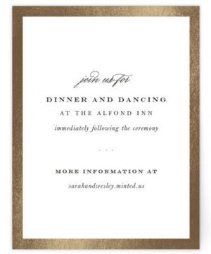 Boho Elegance Foil-Pressed Reception Cards