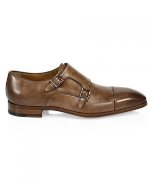 COLLECTION BY MAGNANNI Burnished Leather Double Monk Strap Dress Shoes