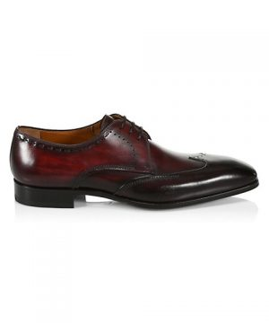COLLECTION BY MAGNANNI Burnished Leather Wingtip Derby Dress Shoes