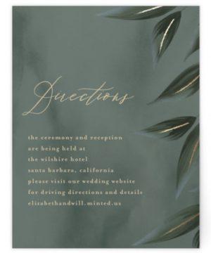 Cascading Vine Foil-Pressed Direction Cards