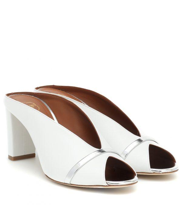 Ciara 70 peep-toe leather mules