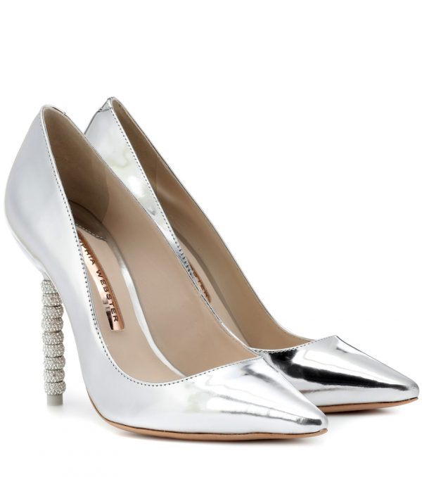 Coco crystal-embellished leather pumps