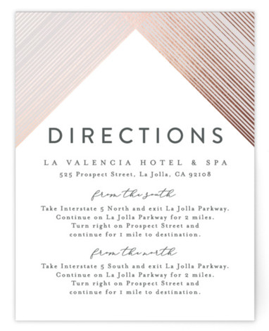 Criss Cross Foil-Pressed Direction Cards