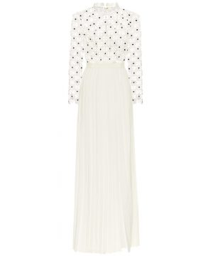Daisy pleated guipure-lace gown
