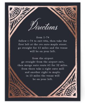 Deco Corners Foil-Pressed Direction Cards