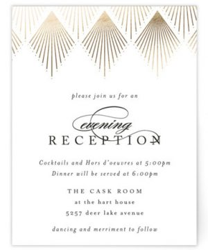 Deco Fan Border Foil-Pressed Reception Cards