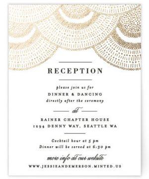 Deco Fringe Foil-Pressed Reception Cards