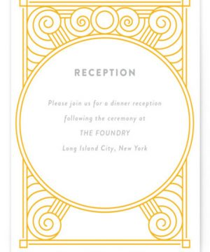 Deco Swirls Letterpress Reception Cards