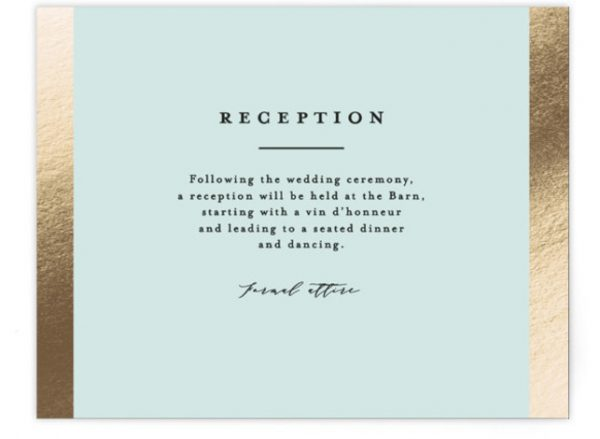 Dreaming Of A White Wedding Foil-Pressed Reception Cards