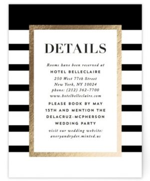 Editorial Chic Foil-Pressed Direction Cards