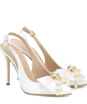 Embellished satin slingback pumps